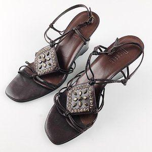 Nickels Leather Embellished Sandal Wedges Sz 9